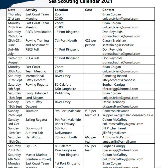 2021 Sea Scouting Calendar
